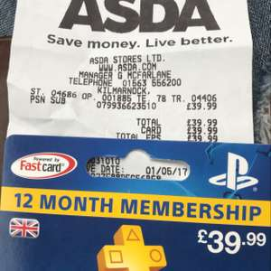 12 MONTH PSN SUB £39.99 @ Asda