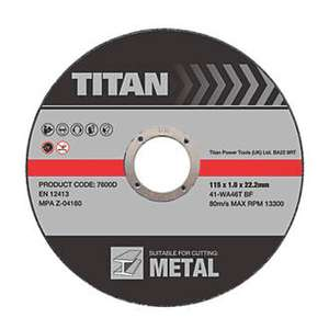 Titan Metal Cutting Discs 115 x 1 x 22.23mm 3 Pack - Screwfix £0.99