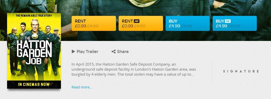 The Hatton Garden Job Digital HD Rental via TalkTalkTV (Formerly Blinkbox TV) -  Only 99p