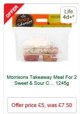 Takeaway Meal For Two £5 (Was £7.50) - MORRISONS - Various flavours inc. Chicken ( Blackbean Sauce + Sweet & Sour Sauce or Sweet & Sour Curry 1245g) - with  Egg Fried Rice, Four Vegetable Spring Rolls and Prawn Crackers