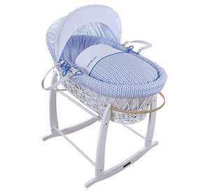 Blue Barley Print Moses White Wicker Moses Basket Was £70 Now £55 (Free C+C, otherwise £3 Standard Del - Excludes Stand) @ Tesco Direct