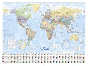 "Colins World Map Wall Poster 40"" x 54""/100cm x 140cm £3 @ The Works"