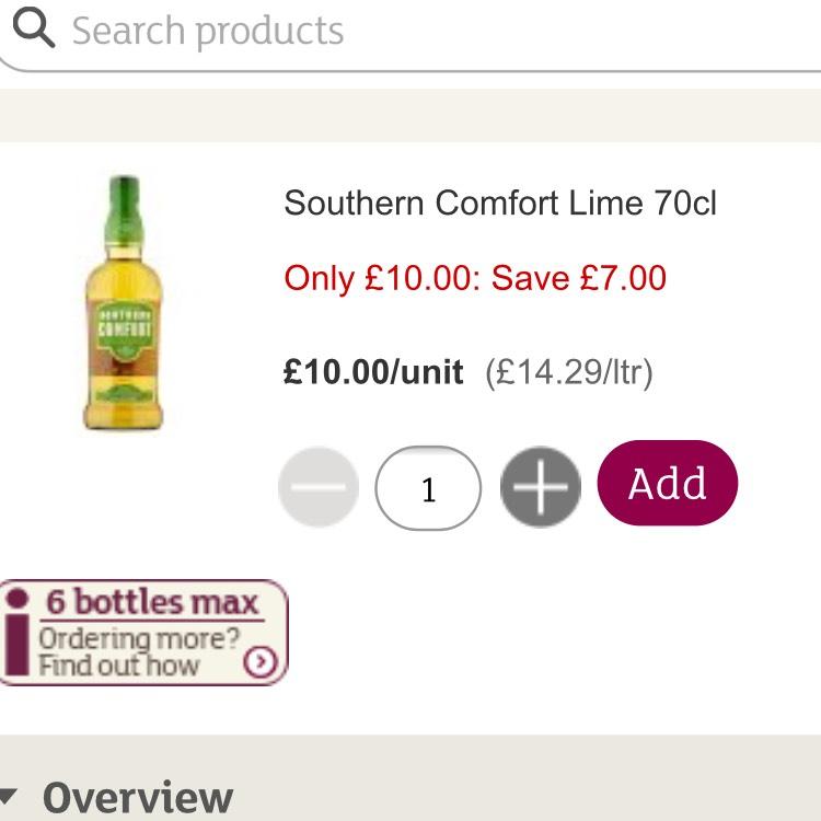Southern Comfort & lime - £10 @ Sainsbury's