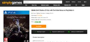 Middle Earth Shadow Of War Pre Order (PS4/XBOX One) £34.85 @ simplygames.com