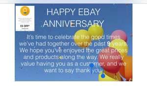 eBay anniversary email £5 off anything £10 spend (selected accounts)