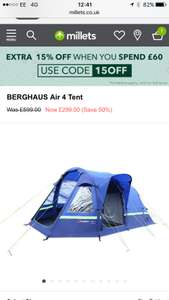 Millets. Berghaus air 4 tent. 50% off + extra 15% off!!! With codes £254 @ Millets