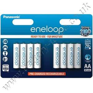 Panasonic Eneloop AA 8-Pack - 1900 mAh £11.39 Del @ Battery force