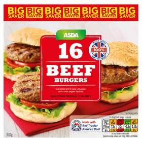 Beef Burgers with Onions (16 = 908g) ONLY £3.80 (24p a burger) @ Asda