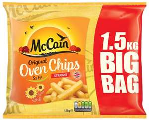 McCain Original 5% Fat Oven Chips - Straight Cut (1.5Kg) was £2.60 now 3 packs for £5.00 @ Tesco