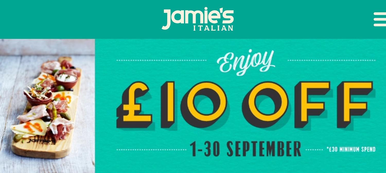 £10 Off your Bill over £30 @ Jamie's Italian or via Vouchercodes