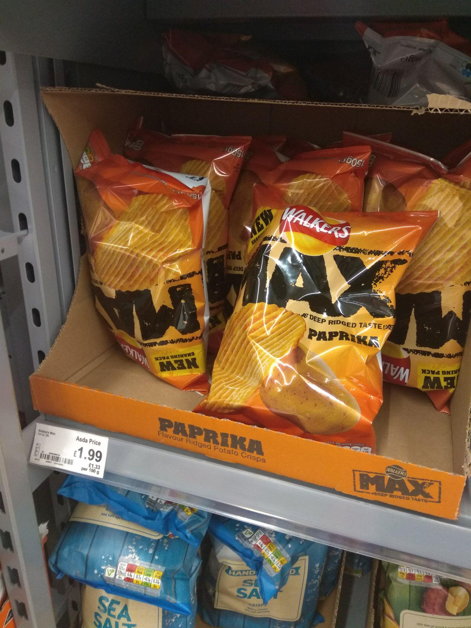 Walkers paprika flavour 150g £1.99 @ asda