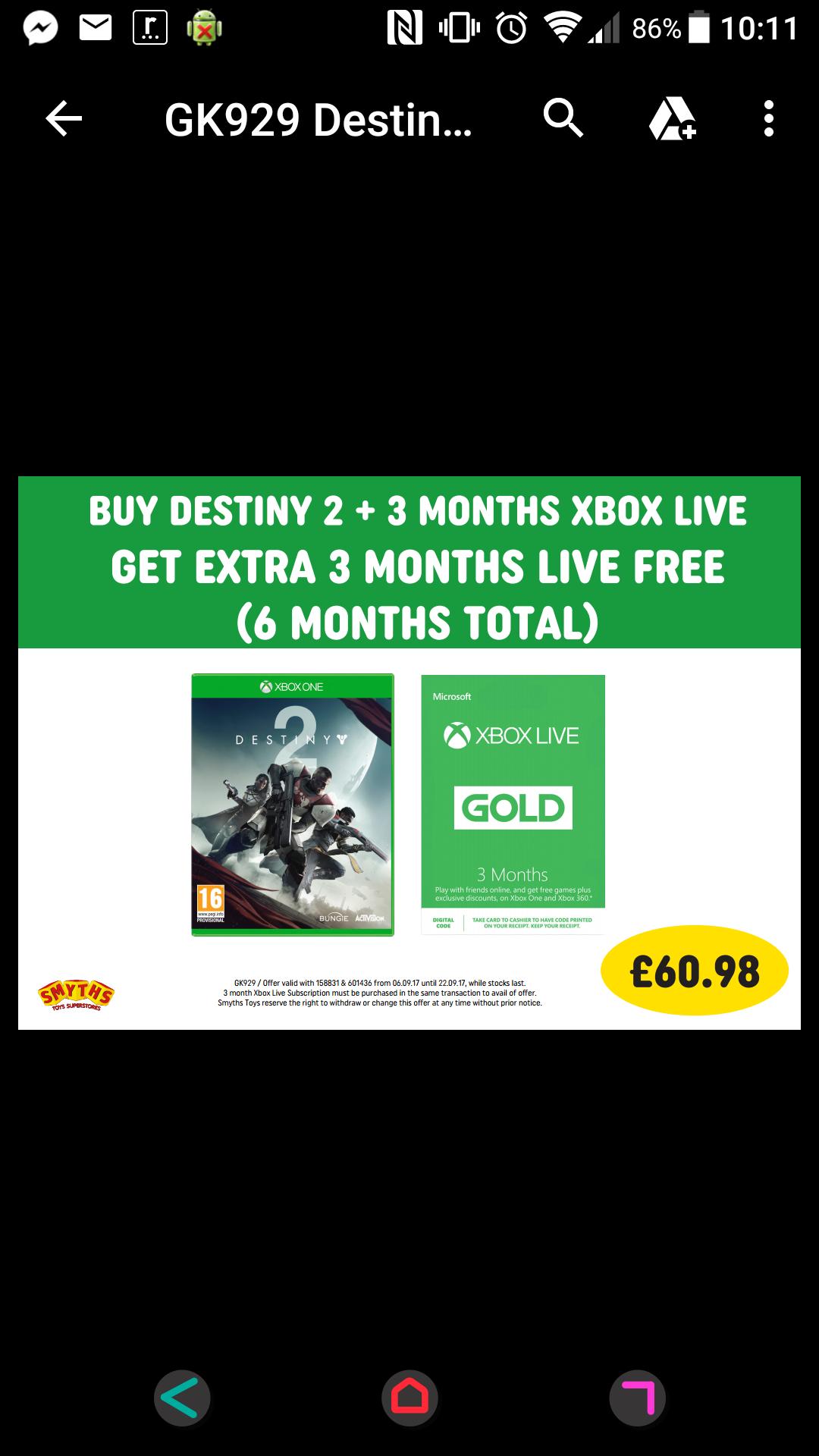 Destiny 2 + 6 months Xbox live £60.98 smyths toys  INSTORE ONLY