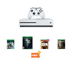 Xbox One S 500GB Console with Destiny 2, Forza Horizon 3, Doom, Fallout 4, Dishonored 2 PLUS 2 month Now TV Entertainment Pass - £199.99 - Game.co.uk