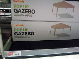 Pop up gazebo, not the cheaper 'stick together' type. £40 @ Halfords - Llandudno