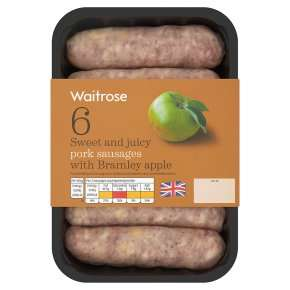 British Pork Sausages with Bramley Apple 400g - 6 pack for £1.31 with PYO @ Waitrose