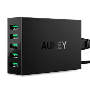 AUKEY USB Wall Charger 50W / 10A 5 Ports with AiPower Tech - Black with 24 Month Warranty £8.99 prime / £12.98 non prime @ Amazon Lightning deal