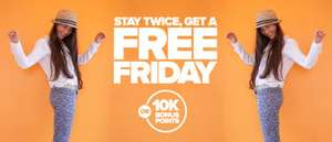 Book any 2 stays of 1 night (or more) to stay by 30 September at Radisson Blu, Park Inn, Park Plaza etc hotels (can be very cheap) and get a free Friday night stay (very dear) at any of their hotels in the world