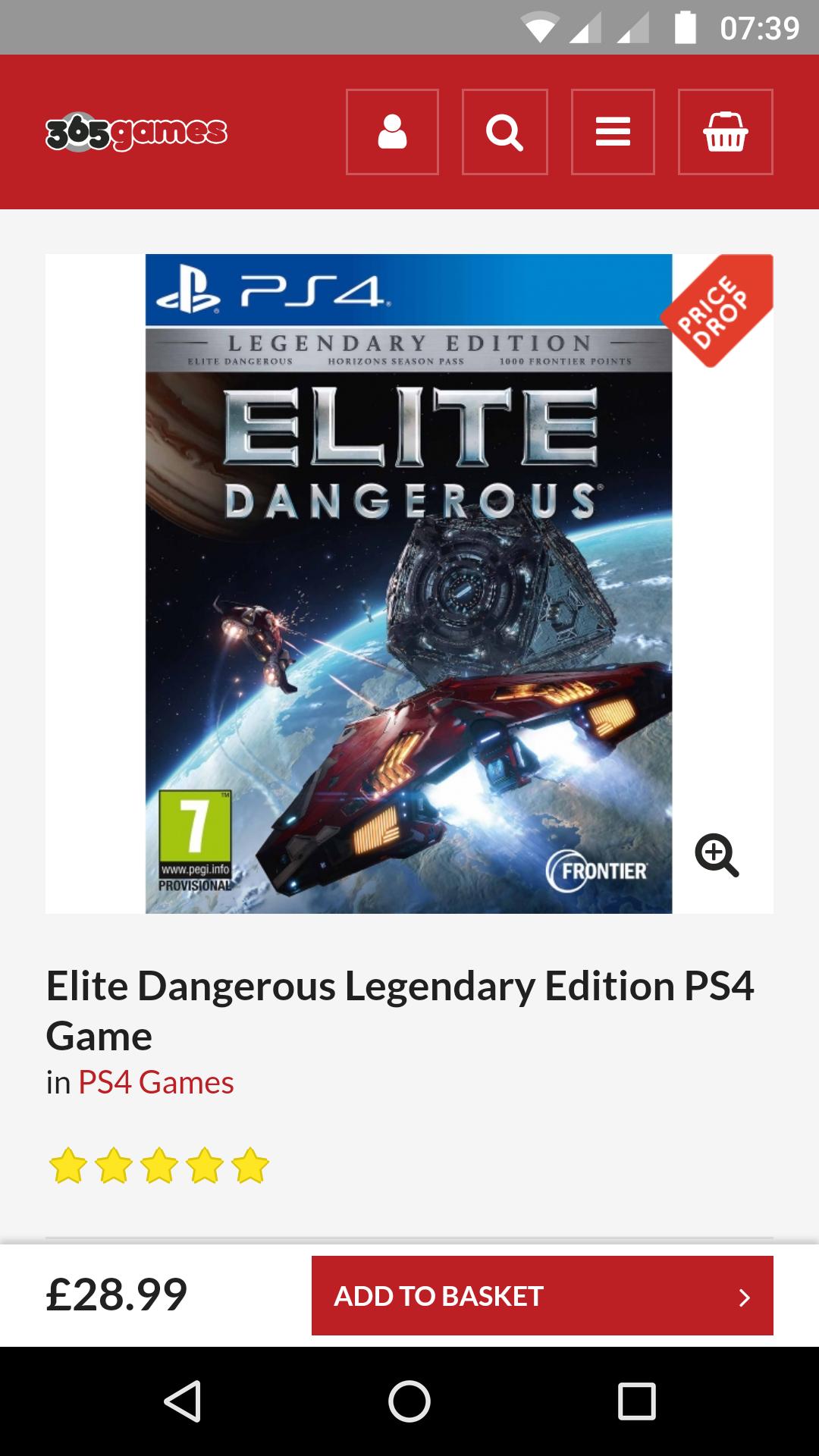 Elite Dangerous Legendary Edition PS4 £28.99 365games.co.uk