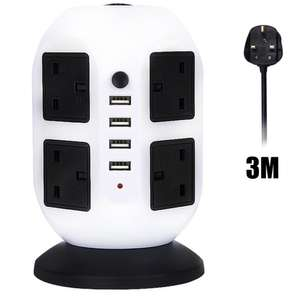HowiseAcc 3M/9.8ft Extension Lead,4 USB Ports 8 Way Outlets Tower £13.99 (Prime) / £18.74 (non Prime) Sold by HowiseAcc and Fulfilled by Amazon.