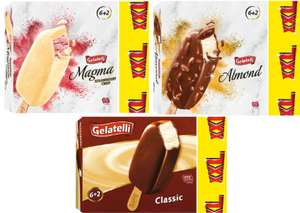 Gelatelli XXL Ice Creams 8 x 120ml - 3 varieties - Choose from Almond, Strawberry Crisp or Classic £2.09 @ Lidl from Today