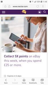 EBay Nectar 5x points on £25 transaction before the 13th Sept
