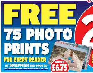 "Daily Express Snapfish free 75 6"" x 4"" Prints Worth £6.75 (Plus £3.99 Postage)"