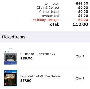 PS4 dual shock controller and Resident evil VII £50.00 delivered with code @ Asda