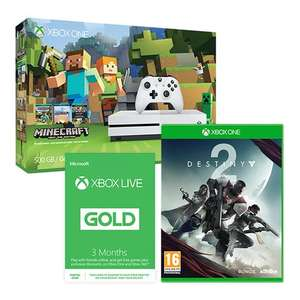 Xbox One S 500GB Minecraft Bundle with Free Destiny 2 & 50% Off 3 Month Xbox Live / Xbox One S 500GB Forza Bundle with Free Destiny 2 & 3 Month Xbox Live £206.99 each @ Smyths Toys