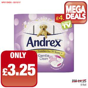 Andrex Toilet Rolls (9 pack) Only £3.25 Price Marked £4.25 @ Premier Stores
