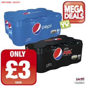 Pepsi or Pepsi Max Pack of (12 x 330ml cans) ONLY £3.00 (25p a can) @ Premier Stores (INSTORE ONLY)