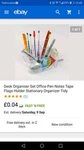 Desk Organiser (eBay) for 4p delivered from electronichouse13/ebay