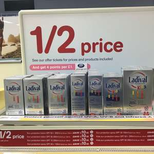 Ladival sun cream half price at Boots - £10