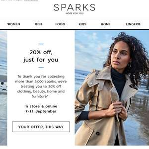 20% off at M&S for sparks holders