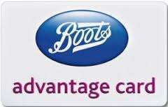 Boots ad card 20th anniversary. 20 points per pound over the weekend - £50 min spend
