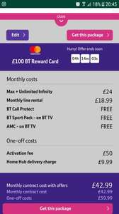 Great tv broadband and phone deal  BT