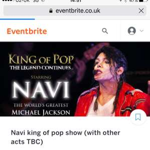 Navi (as seen of lifetime channel) MJ impersonator £15 @ EventBrite