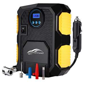 QZT Portable Car Tyre Inflator Pump with LED Lamp Digital Pressure Gauge 150 PSI 3 Valve Adapters, 3M Cord @26.99 free post and great reviews Sold by QZT ELECTRONIC and Fulfilled by Amazon.