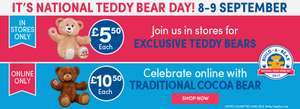 National Teddy bear day 8&9th Sept at Build a bear  instore £5.50, on line £10.50