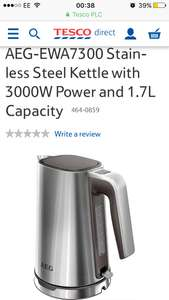 From Tesco free C&C AEG-EWA7300 Stainless Steel Kettle with 3000W Power and 1.7L Capacity £29