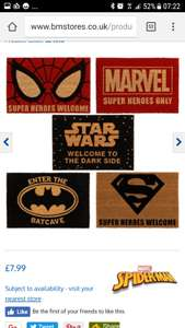 Superhero and star wars door mats in-store at B&M £7.99