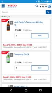 1Ltr spirits for £18 @ Tesco e.g Tanqueray Gin 1L £18