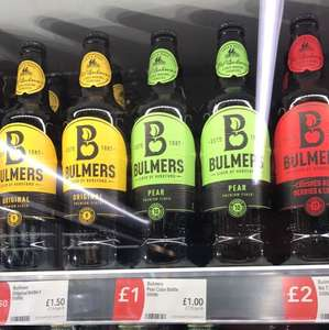 Bulmers Original & Bulmers Pear £1 in Co-Op (90p with student discount)