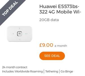 Three 24m 20GB 4G Huawei Mifi £8pm - total cost: £192