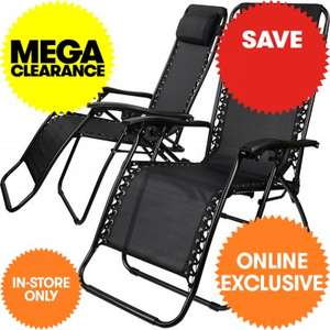 Set of 2 zero gravity loungers with removable head rest £35.99(including vat) @ jtf