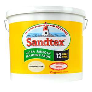 Sandtex smooth masonry paint in Cornish Cream and Chalk Hill £31 for 12 litres in store only.