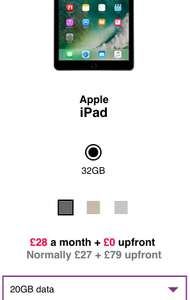 Three - 4G iPad 9.7 & 20GB (24 months £28)