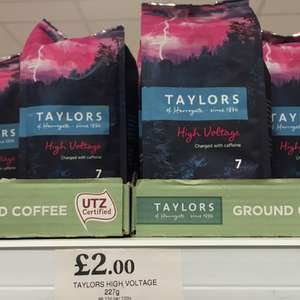 Taylors of Harrogate High Voltage Ground Coffee 227g serious caffeine kick £2 at home bargains