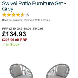 Monaco 2-Seater Rattan Swivel Patio Furniture Set - Grey £134.93 @ Robert Dyas