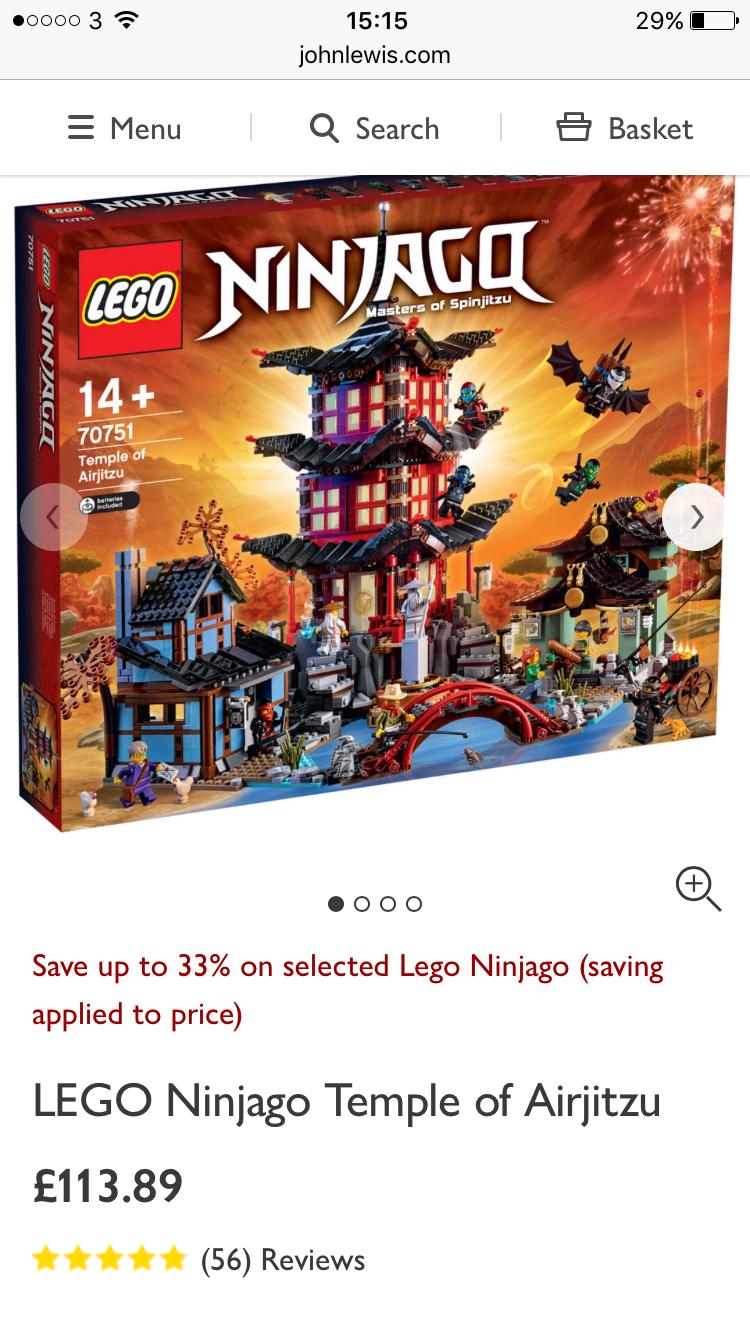 Lego 70751 temple of airjitzu £113.89 instore @ John Lewis