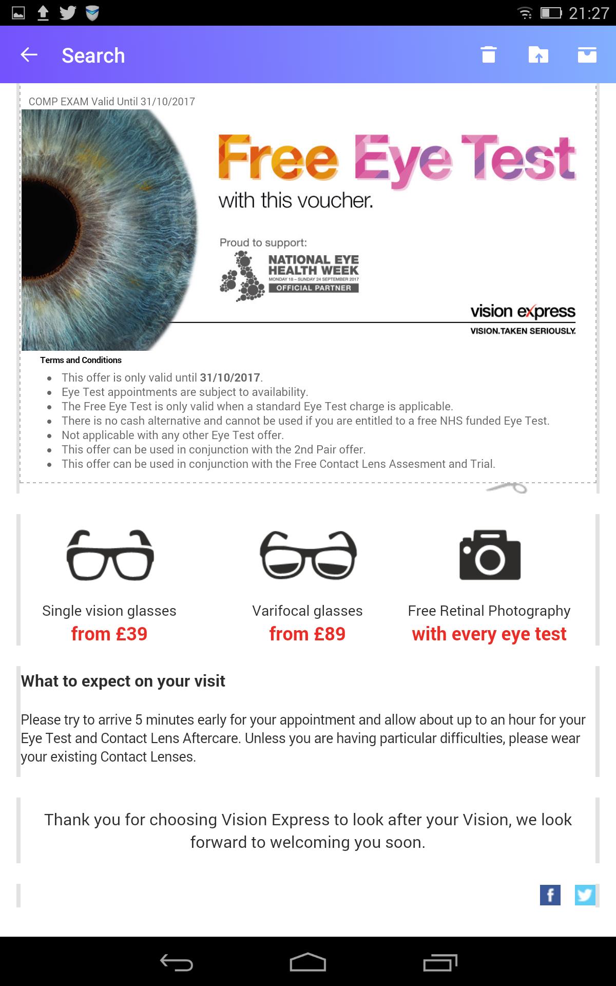 Free Eye Test at Vision Express until 31.10.17